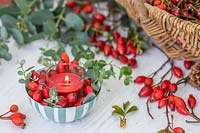 Red candle in dish with rosehips and Eucalyptus foliage