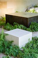 Metal water feature edged with Adiantum - Maidenhair Fern