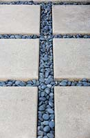 Paving stones and pebbles.