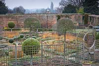 The Sunken Garden at Littlethorpe Manor, Yorkshire in February. Designed by Eddie Harland.