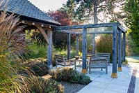 View of pergola and patio at Surrey Garden
