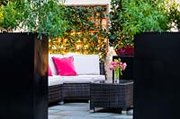 View through Choisya in tall black planters to seating area in front of wall-mounted trellis with climber
