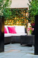 View through tall black planters to outdoor seating area with pink cushions, wall-mounted trellis with climber beyond