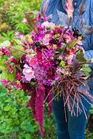 Woman holding flower bouquet in shades of cerise, plum, dark red and pink including: Dahlia, Amaranthus, Miscanthus, Alstroemeria, Physocarpus and Astrantia