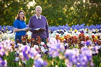 Christine and David Howard at Howard Nurseries open ground bearded Iris fields in May.