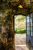 View out of the Shell House at Hotel Endsleigh, Devon in spring