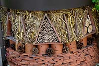 Recycled roof tiles re-used to form bug hotel