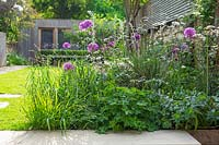 Border with alliums and cow parsley in front of a lawn, bench and wooden summer house.