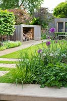 A contemporary city garden with a border of alliums, purple mullein and cow parsley in front of a lawn and wood store