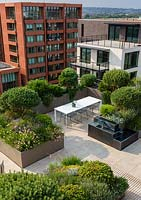 Roof garden in a city with dining area surrounded by troughs of evergreens