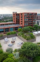 Overview of roof garden in city showing different paved seating areas separated by troughs of evergreen shrubs