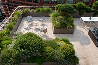 Overview of roof garden in city showing large paved area divided into separate seating areas by troughs of evergreen shrubs