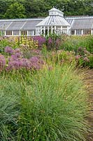 The Perennial Meadow and Victorian Conservatory at Scampston Hall Walled Garden, North Yorkshire, designed by Piet Oudolf. Planting includes Sesleria nitida, Allium cristophii and Phlomis russeliana.