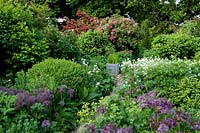 Cottage garden with flowering perennials and shrubs.