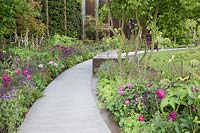 Contemporary rose-garden with basaltite and bronze hard-landscaping. Flagstone path. Densely-planted perennials. Roses include Rosa 'Louise Odier', Rosa 'Reine des Violettes', Rosa 'Chianti', Rosa 'Nuits de Young',  Rosa 'Mme Pierre Oger'. Alchemilla mollis, Cirsium rivulare 'Atropurpurea', Geranium 'Mrs Kendall Clark', Angelica archangelica, multi-stemmed Carpinus betulus syn. hornbeam, Digitalis syn. foxglove.