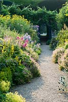 Gravel path between borders of Phlox, Lysimachia, Alchemilla and Helianthus, arch in boundary wall with Vitis - Grape Vine - growing over