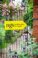 National Gardens Scheme garden open for charity sign on gate
