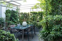 Dining area on terrace, screened by metal and planting of Hydrangea 'Limelight' at boundary. Plants in foreground: on the left Pittosporum tobira 'Nanum', Loropetalum 'Black Pearl', to the right Edgeworthia