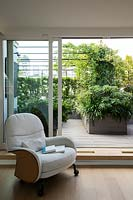 View of roof garden from inside the house, sliding glass doors to decked area divided by planter with an Edgeworthia, beyond a metal pergola with climbers