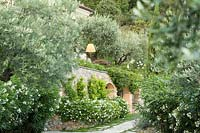 The facade of the house between cypresses and rosemary, agapanthus and olive trees. solanum jasminoides on the wall