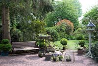 View of a shaded town garden with gravel area, bench, pots, topiary with lawn, trees and shrubs
