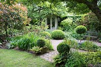 Shaded small town garden with Buxus - Box - topiary, planting beds and summerhouse