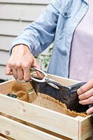 Woman using garden sissors to make drainage holes in a plastic liner