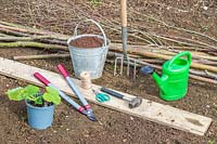 Tools and materials required to make a hazel pole support for a squash plant