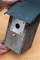 Repaired bird box with waterproof roof and metal entry plate