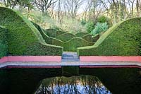 The Reflecting Pool and Hedge Garden. Wave-form cut Hedges of Taxus baccata 'Yew'.