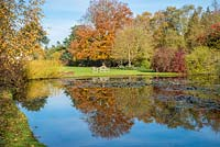 View across water to lawn with seating and trees and shrubs including Fagus sylvantica - Beech - and Cotinus coggygria 'Royal Purple' - Smokebush