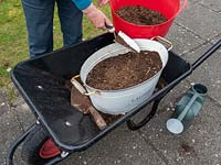 Use old containers to plant a wild flower garden.  Covering newly sewn seeds with compost