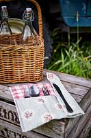 Floral cutlery holder and picnic basket