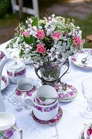 Garden table set for afternoon tea