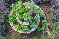Finished Brick spiral herb garden viewed from above