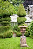 Topiary and decorative urns in June