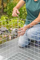 Woman using spiral helicoils to join components of gabion basket.