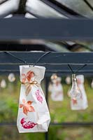 Paper bags with printed leaf motiv and fairy lights hanging from greenhouse roof.