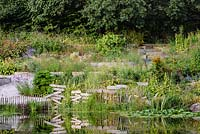 Decorative stencilled signs clustered on the edge of the pond at Am Brook Meadow, Devon in August, surrounded by planting including Phlomis russeliana, veronicastrum, eupatorium and grasses