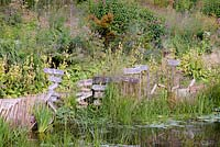 Decorative stencilled signs clustered on the edge of the pond at Am Brook Meadow, Devon in August surrounded by planting including Phlomis russeliana, veronicastrum, eupatorium and grasses.