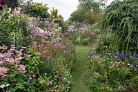 View along grass path with beds full of flowers on either side and beyond