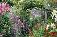 View through rustic arch in cottage garden full of flowers