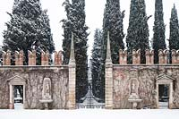 Classic gateway and decorative wall - Court of honor and avenue of cypresses