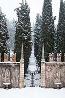View of Court of honor and avenue of cypresses at Giardino Giusti, Verona