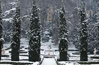 Snow covered formal country garden, Giardino Giusti, Verona