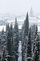 The view of Verona and the avenue of Cupressus - Cypress - trees seen from the upper garden