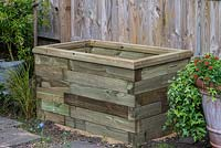 Finished timber raised bed.