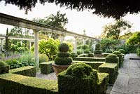 Clipped Buxus - Box - hedging and topiary on the terrace, colonnade in background