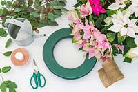 Tools and materials ready for creating a pastel Poinsettia wreath