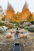 The Lower Rill Garden on a frosty December morning. Planting includes: Iris ensata, clipped yew balls and hedge 'Taxus baccata', Hydrangea macrophylla and beyond fastigate hornbeam, Carpinus 'Frans Fontaine' catches the dawn light.
